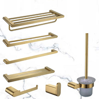 Bath Hardware Sets Wire drawn gold towel rack pole ring bathroom hardware hanger paper towel toilet clothes brushing hook soap