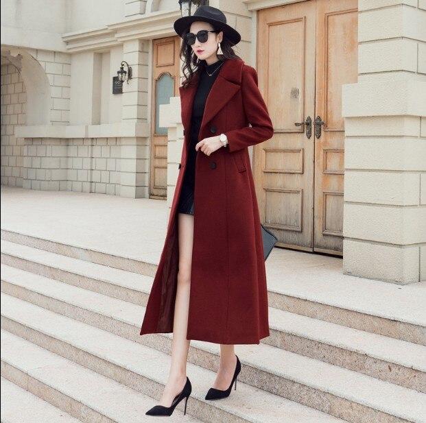 Laine X Pur Slim Couleur Femelle longue Revers Femmes Nouvelles Manteaux Mode Outwear Vestes Bourgogne 2018 Manteau breasted Double D'hiver De vOqT1