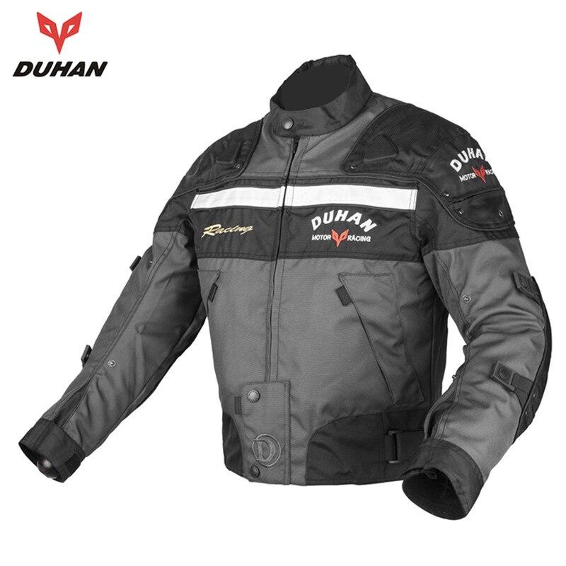 где купить  DUHAN Gray Men's Motocross Off-Road Jaqueta Oxford Cloth Motorcycle Riding Racing Moto Jacket with Five Protector Clothes  по лучшей цене