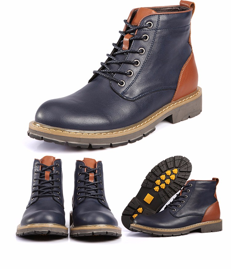 2016 Fashion Genuine Leather Boots Mens Shoes Casual Lace Up Flat Heel Motorcycle Boots Round Toe Men Ankle Boots Size 38-44 H72 (8)