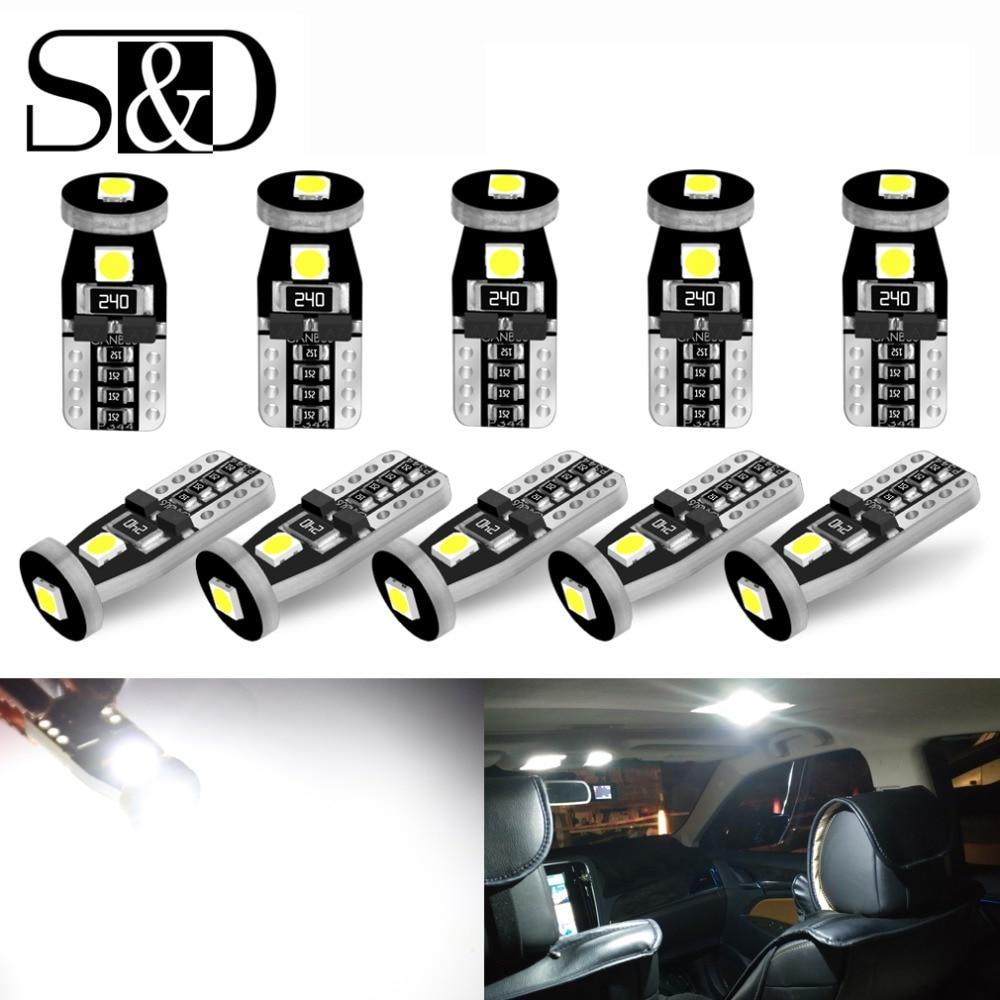 10pcs T10 W5W LED 194 168 Canbus Error Free LED Bulbs 3030 Chips Car Interior Door Reading Lights Parking Lamp 6000K Auto 12V