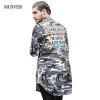 MUSVER Letra Impressa Camo Camisas Dos Homens 2017 Moda Hip Hop Hipster Multicam Combate Do Exército Camisas de Manga Longa Bainha Curva Com Espinhel