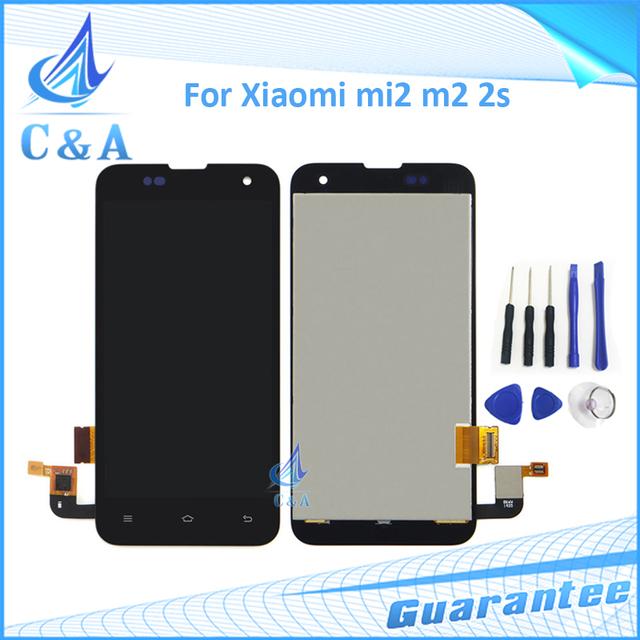 Para xiaomi 2 mi2 m2 m2s display lcd com tela de toque digitador assembléia parte substituição com ferramentas preto 1 peça frete grátis