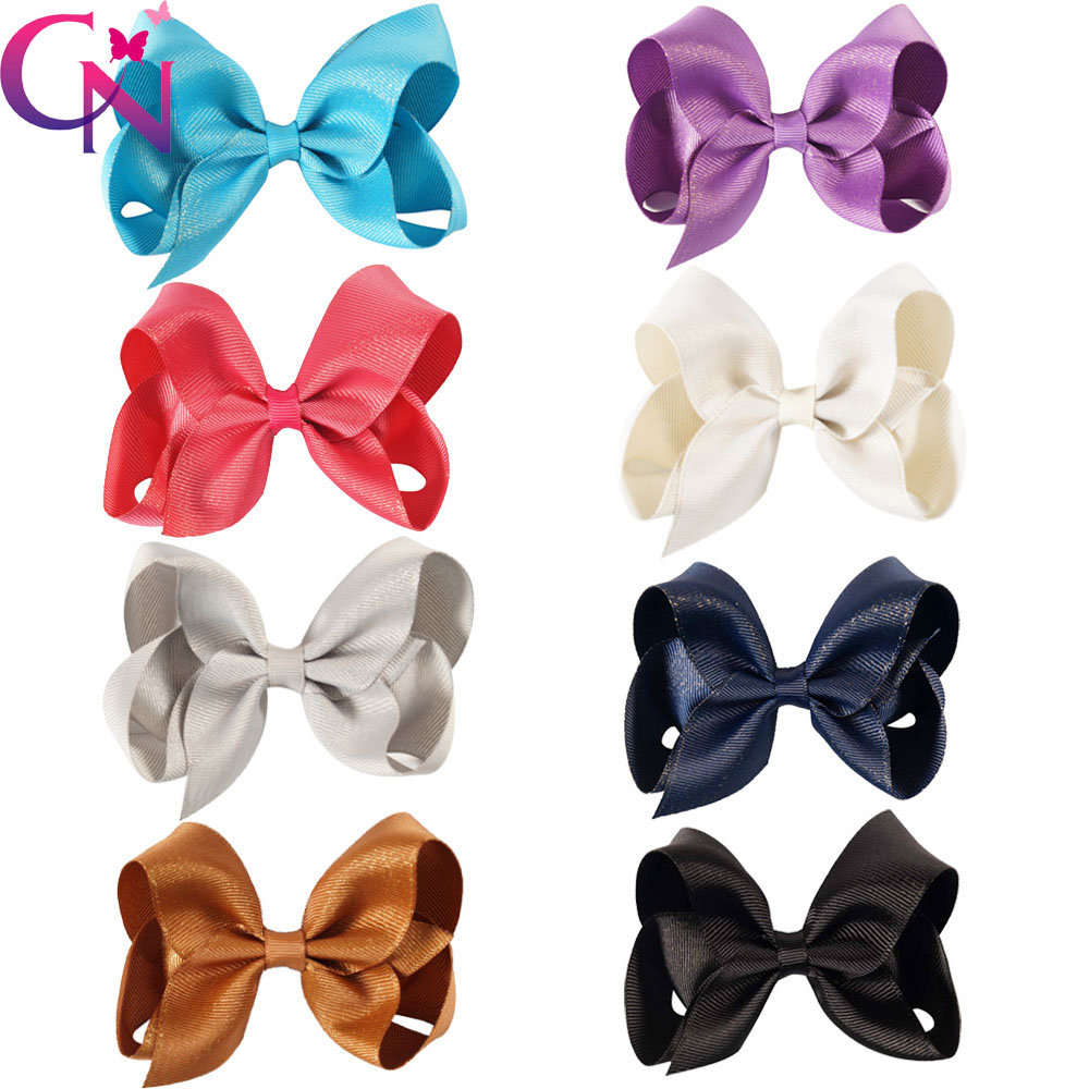 Ha hair bow ribbon wholesale - 24 Pcs Lot 4 Solid Ribbon Hair Bow With Gold Line For Kids Girls