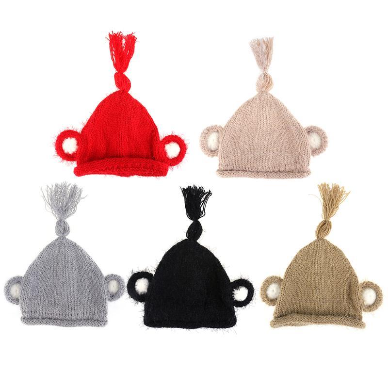 Детская зимняя теплая шапка, милая Младенческая шапочка, шапочка для маленьких мальчиков и девочек, маленькая обезьянка, Детская вязаная ша...