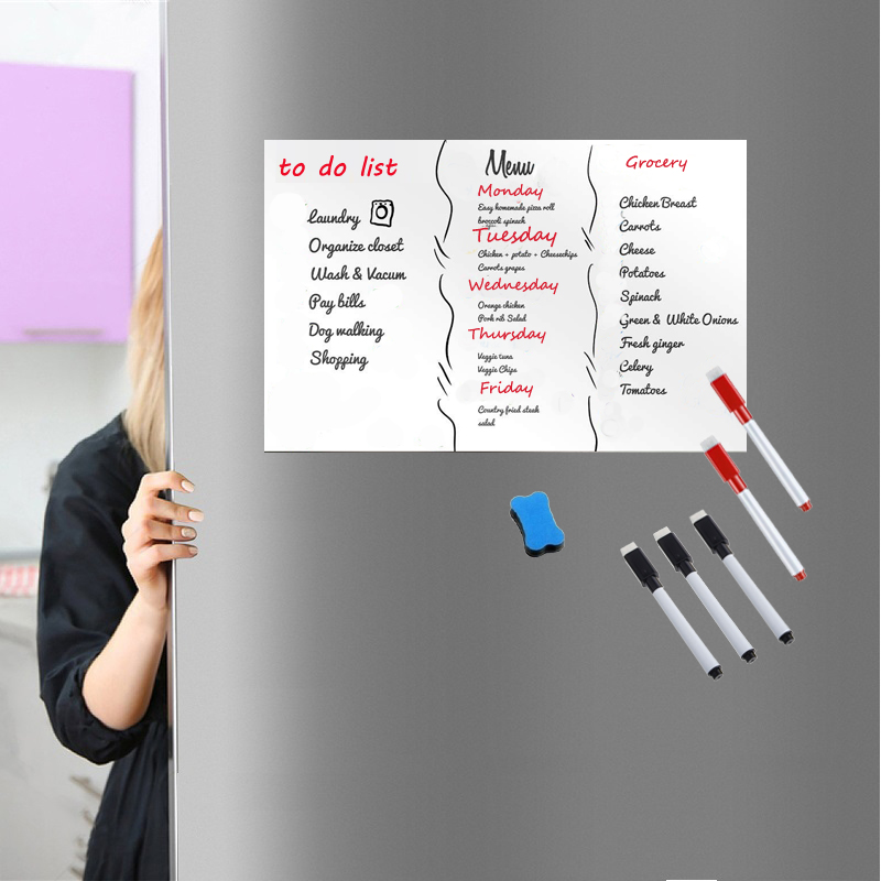 Image 2 - Magnetic white Board A3 Size 297mm X 420mm Fridge Magnet Dry Wipe Magnetic Whiteboard Pens Eraser Smart Notepad Message Board-in Fridge Magnets from Home & Garden