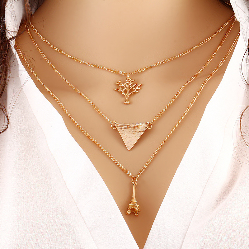 KEORMA Hot Sales Women Style Fashion Tree Tower Carved Charm Clothing Accessories Layers Chain Pendant Necklace Jewelry CX003