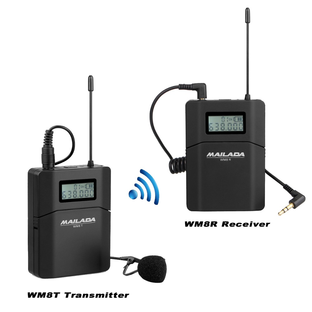 MAILADA WM8 Professional UHF Wireless Microphone System Lavalier Lapel Mic Receiver + Transmitter for Camcorder Recorder
