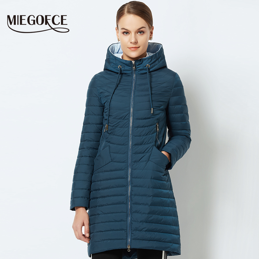 MIEGOFCE 2018 Spring Women's Parka Coat Women's Windproof Thin Cotton Jacket Warm Jacket With a Hood New Collection of Designer