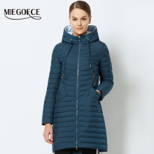 MIEGOFCE 2018 Spring Women's Parka Coat Women's Windproof Thin Cotton Jacket Warm Jacket With a Hood New Collection of Designer(China)