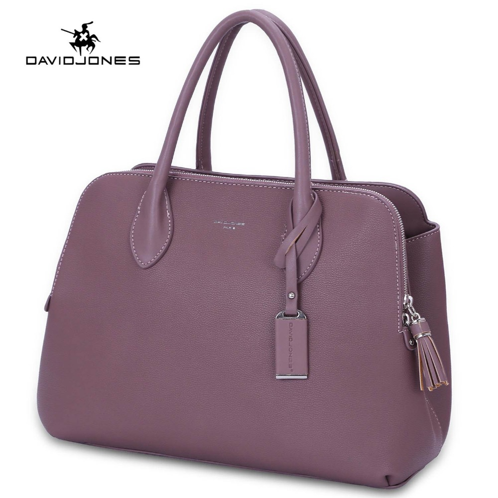 DAVIDJONES women handbag faux leather female tote bags big lady solid shoulder bag girl brand top handle bag drop shipping цена
