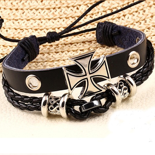 Design Fashion Vintage metal Cross Adjustable Bracelet jewelry Multilayer Leather men 2015 PD26 - Shop904856 Store store