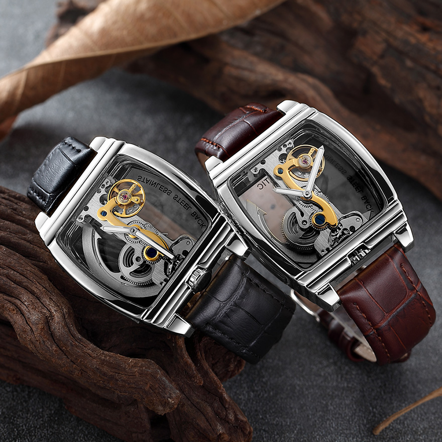 Transparent Automatic Mechanical Watch Men Steampunk Skeleton Luxury Gear Self Winding Leather Men's Clock Watches montre homme 3