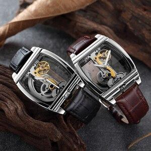 Image 3 - Przezroczysty automatyczny zegarek mechaniczny mężczyźni Steampunk Skeleton Luxury Gear Self Winding skórzany zegarek męski zegarki montre homme