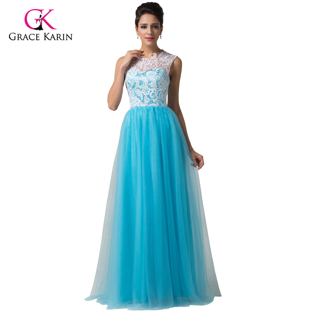 ᗑ】Long Evening Dress 2018 Grace Karin White&Sky Blue Lace Applique ...