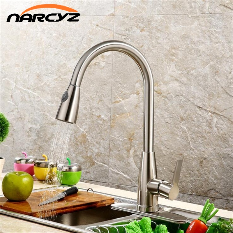 Single Handle Kitchen Faucet Mixer Pull Out Kitchen Tap Single Hole Water Tap Cold and Hot Water Mixer torneira XT-57 black chrome kitchen faucet pull out sink faucets mixer cold and hot kitchen tap single hole water tap torneira
