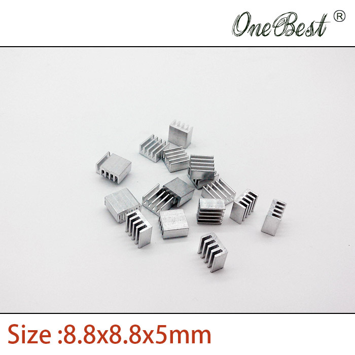 100Pcs/lot Aluminum Routing Heatsink Electronic Chip Cooling Radiator 8.8 X 8.8X 5mm for A4988 Chip Wholesale 200pcs lot 0 36kg heatsink 14 14 6 mm fin silver quality radiator