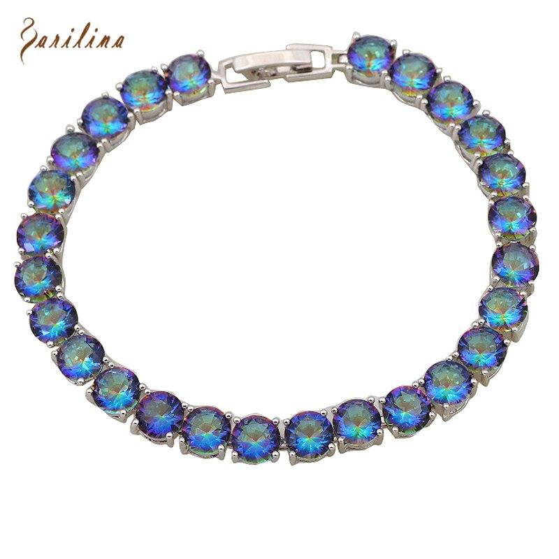 Brand designer Silver Filled Round Bracelets & banglesShiny Rainbow Mystic Cubic Zirconia fashion jewelry 17.5cm 6.89 inch B015