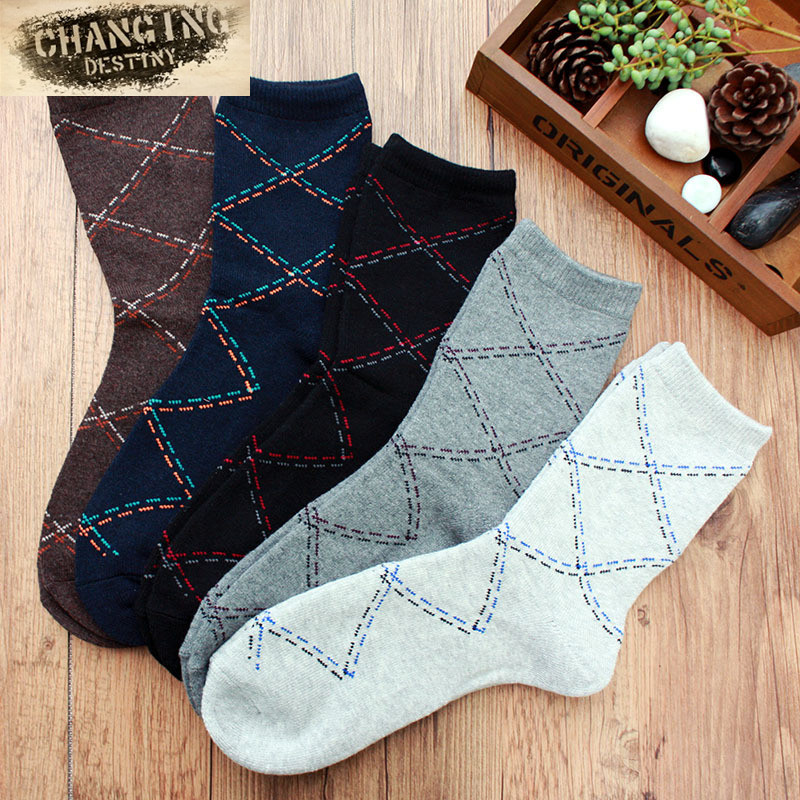 Autumn-Winter Men Socks Cotton Leisure Thick Terry Socks Breathable Rhombus Casual Male Sock