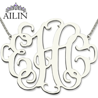 1.68 inch Stylish Monogram Necklace in Sterling Silver Personalized Initial Jewelry Large Size XL Class Monogram Birthday Gift