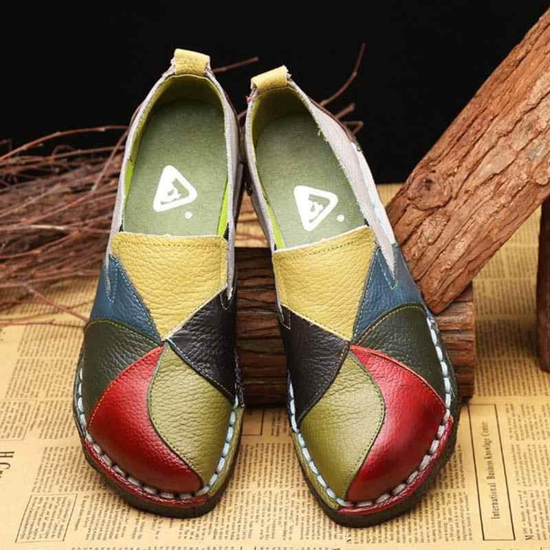 2019 ผู้หญิงรองเท้าแบนลื่นบนรองเท้าแตะ Loafers รองเท้าหนังวัวผสมสี ballerine femme Plus ขนาด zapatos de mujer