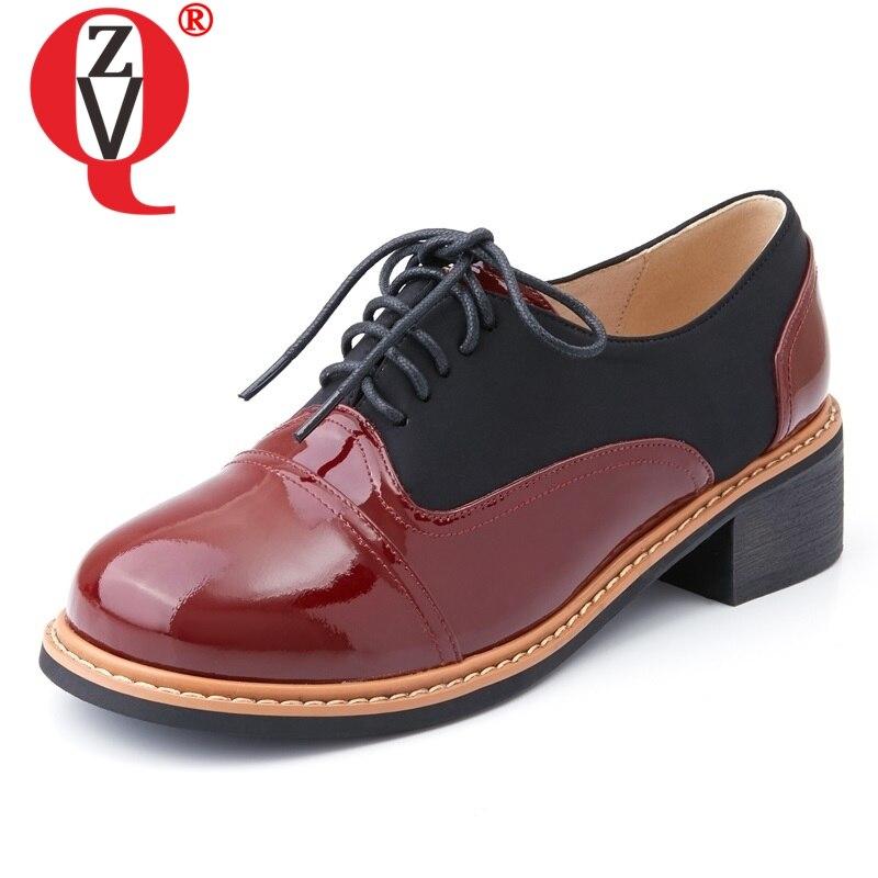 ZVQ chaussures femmes printemps nouvelle mode en cuir verni croisé femmes pompes med talon carré couleurs mélangées bout carré chaussures douces