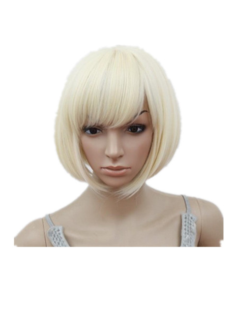 Fei Show Bob Wig Oblique Inclined Bangs Short Wavy Blonde Hair
