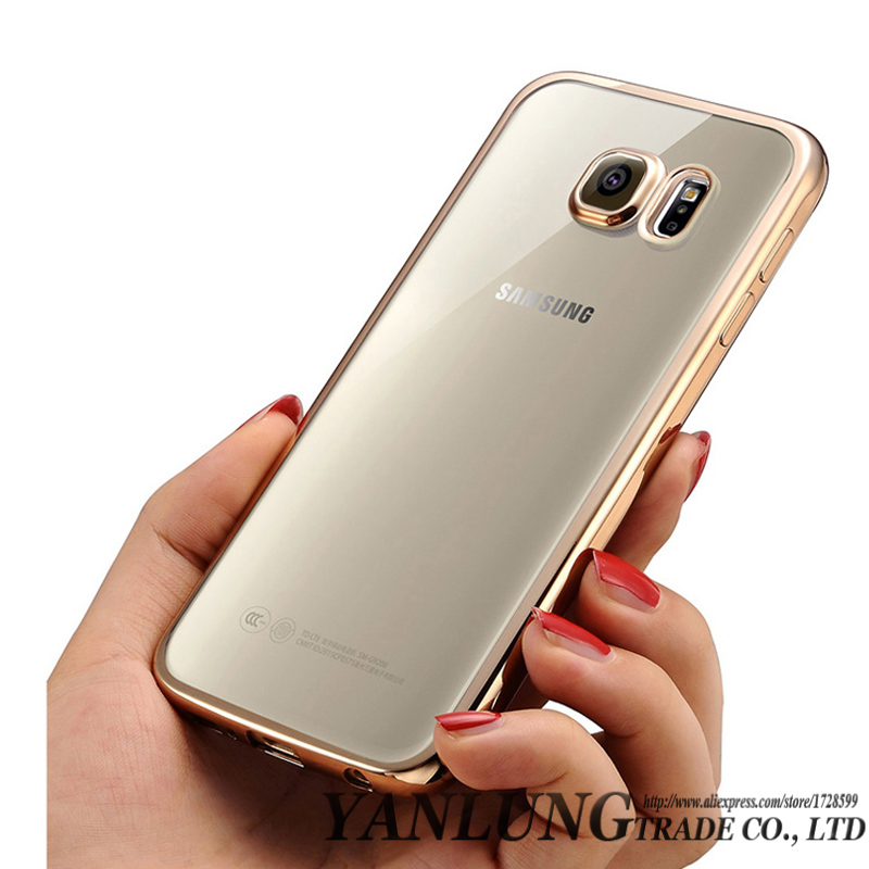 Clear Coque Fundas Plating TPU Case for Samsung Galaxy S6 S7 Edge S8 Plus Note 5 S5 J7 J5 J3 A3 A5 A7 2016 Soft TPU Caso Cover