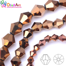 OlingArt 3mm/4mm/6mm/8mm Bicone Upscale Austrian crystals copper color beads Loose bead bracelet DIY Jewelry Making Accessories