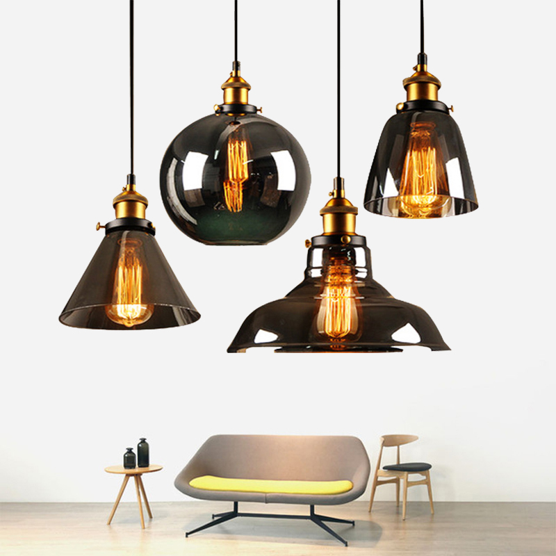 Vintage Smoky grey Glass Pendant Lamp AC85-265V E27 Amber Glass Pendant Light Nordic Hanging Lamp kitchen Fixture Luminaire
