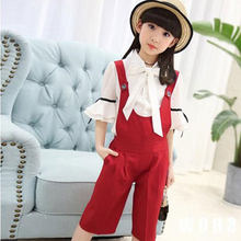 Summer Girls 2 Piece Belt Pants + White Short Sleeve 12-year-old Fashionable Children's Clothing Girls Ruffle Outfits Clothes(China)