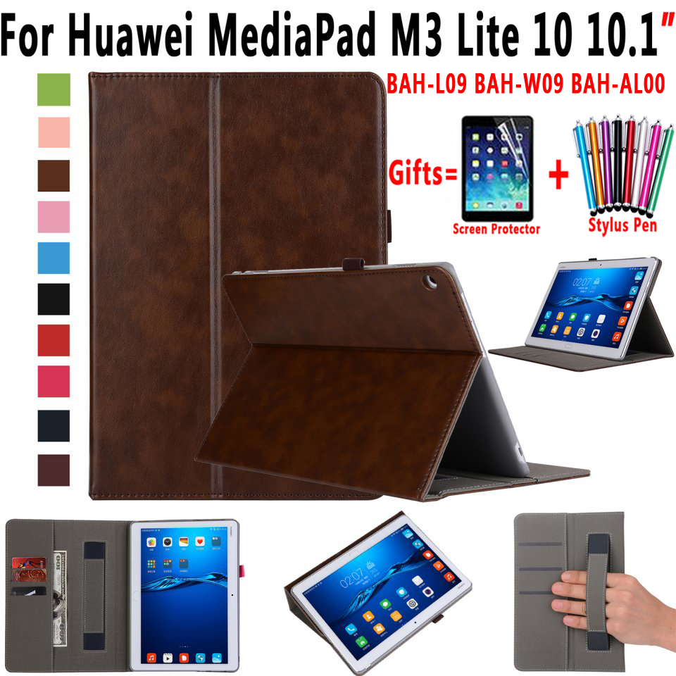 Premium Leather Case Cover for Huawei Mediapad M3 Lite 10 10.1 inch BAH-L09 BAH-W09 BAH-AL00 Coque Capa Funda with Card Slot luxury pu leather cover business with card holder case for huawei mediapad m3 lite 10 10 0 bah w09 bah al00 10 1 inch tablet