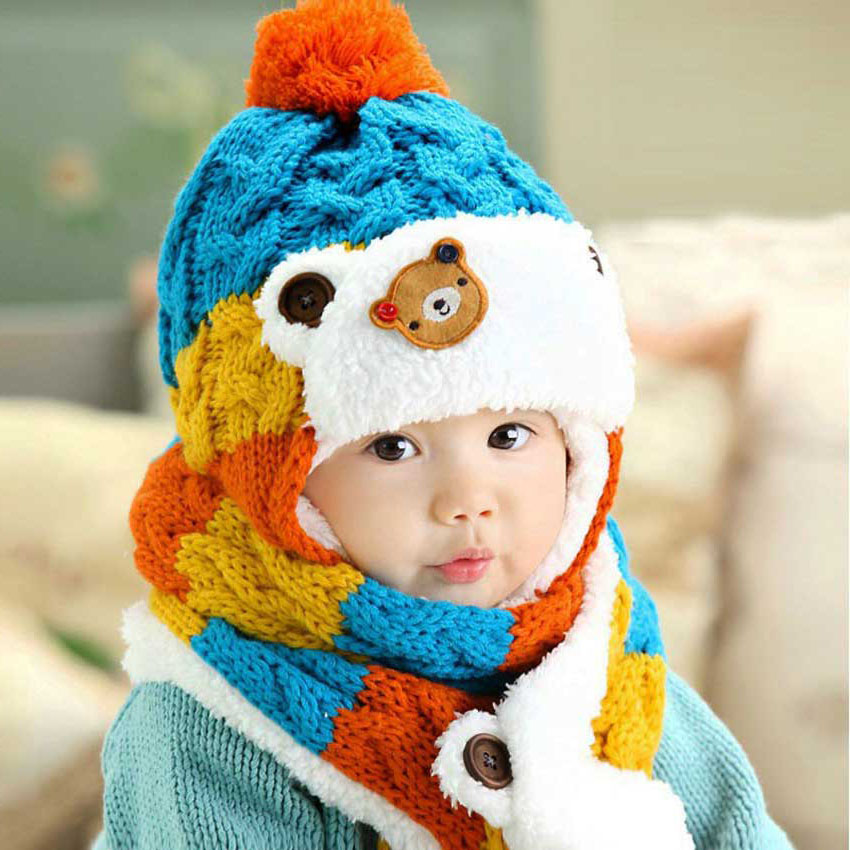 Winter Baby Girl Hat Scarf Set For Child Boy Hats And Scarves Kids Cartoon Bear Stripe Knit Pom Pom Beanie Cap Warm 2 Pcs Suit
