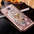 Chapeamento de metal de bling diamante padrão soft case para huawei honor 5x jogo anel animal da flor suporte tampa do telefone para huawei honor 5x