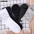 Seenimoe 100% хлопок нескользящих носочков для мужские, повседневные, пропускающие воздух Невидимый модные одноцветные носки 5 пар/лот Перевозка груза падения - фото