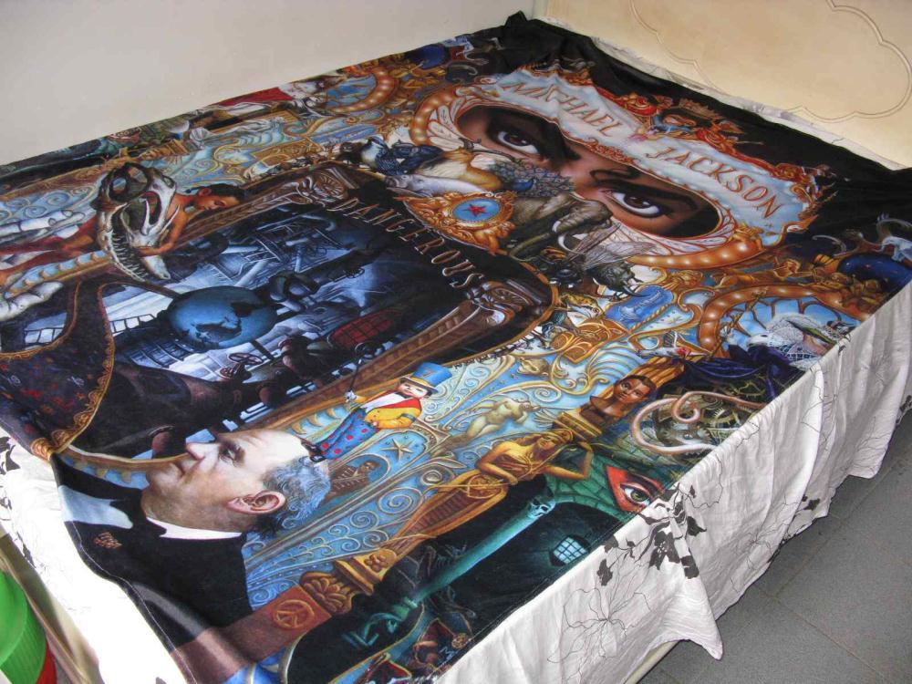 Michael <font><b>Jackson</b></font> MJ Dangerous World Tour Double <font><b>Bed</b></font> sheet Cover Bedspread 150x200 CM