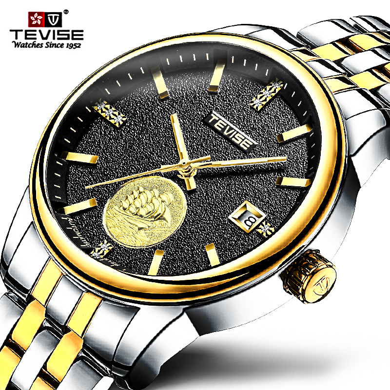 TEVISE Brand Men Watch 2018 Mechanical Watches Luminous Automatic Watch Male Clock Business Stainless Steel Wristwatch Relogio men gold watches automatic mechanical watch male luminous wristwatch stainless steel band luxury brand sports design watches