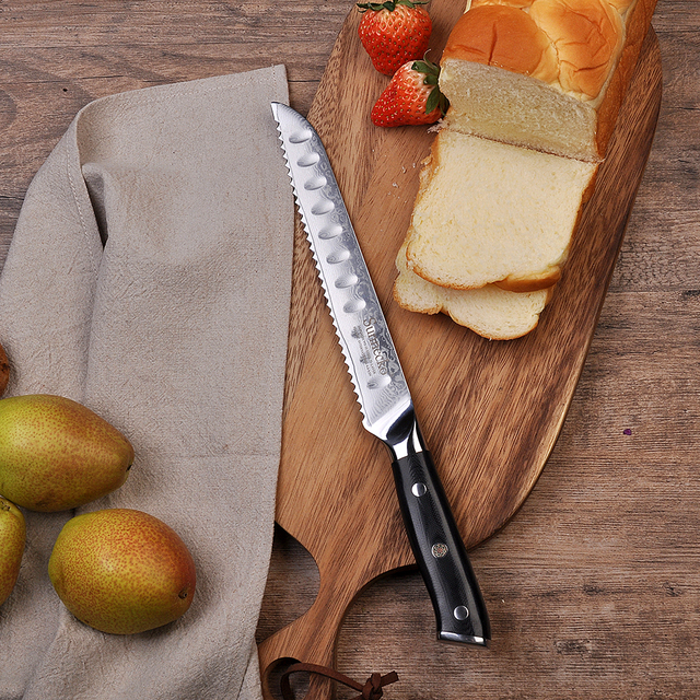 "Sunnecko 8"" Bread Knife Japanese VG10 Steel Core Damascus Blade Kitchen Knives G10 Handle Breakfast Bread Slicing Cutter"