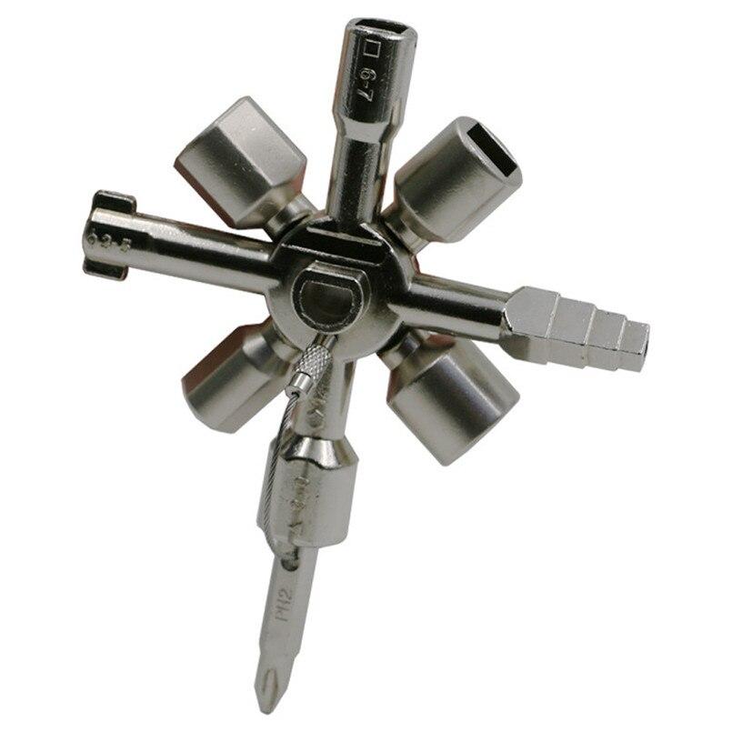 10 in 1 Multifunktions Schlüssel Hand Werkzeuge Elektriker Klempner Utility Kreuz Schalter Schlüssel Zink-legierung Herramientas 20NE21