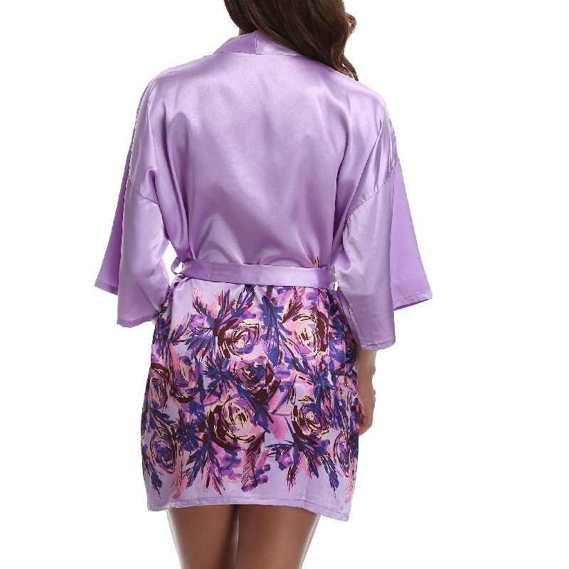 c25b669be6270 ... Floral Short Robes Roses Print Bride Bridesmaid Robes Faux Silk Shiny  Fabric Removable Belt Lavender Kimono ...