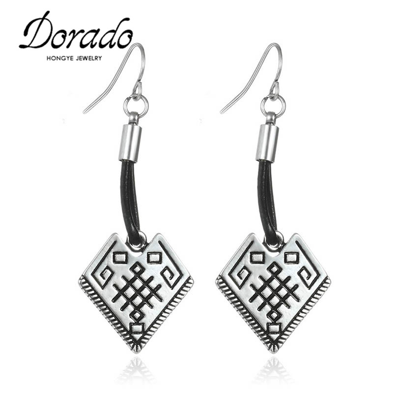 Good Quality Sculpture Antique Gold Silver Square Shaped Pendants Earrings For Women Leather Material Ear Jewelry