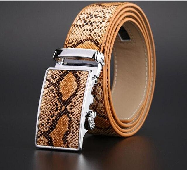 Snakeskin Pattern Belts for Men Genuine Leather Snake Belt Automatic Buckle Free Cowboy Jeans 2015 Brand Luxury Strap Mens Male
