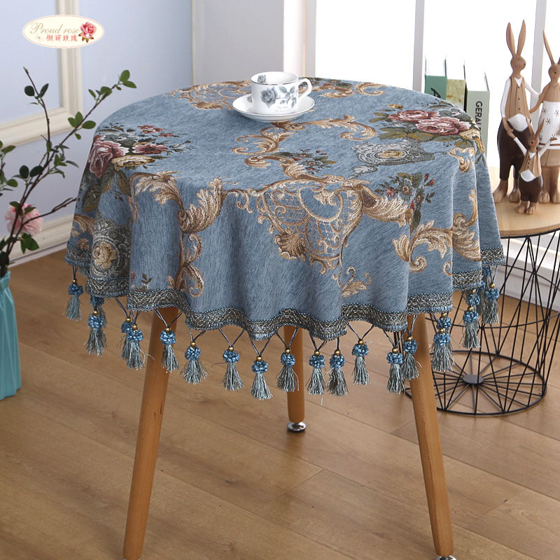 Proud Rose European Round Table Cloth Chenille Table Cover Towel Tablecloth With Tassel Thickened Tablecloths