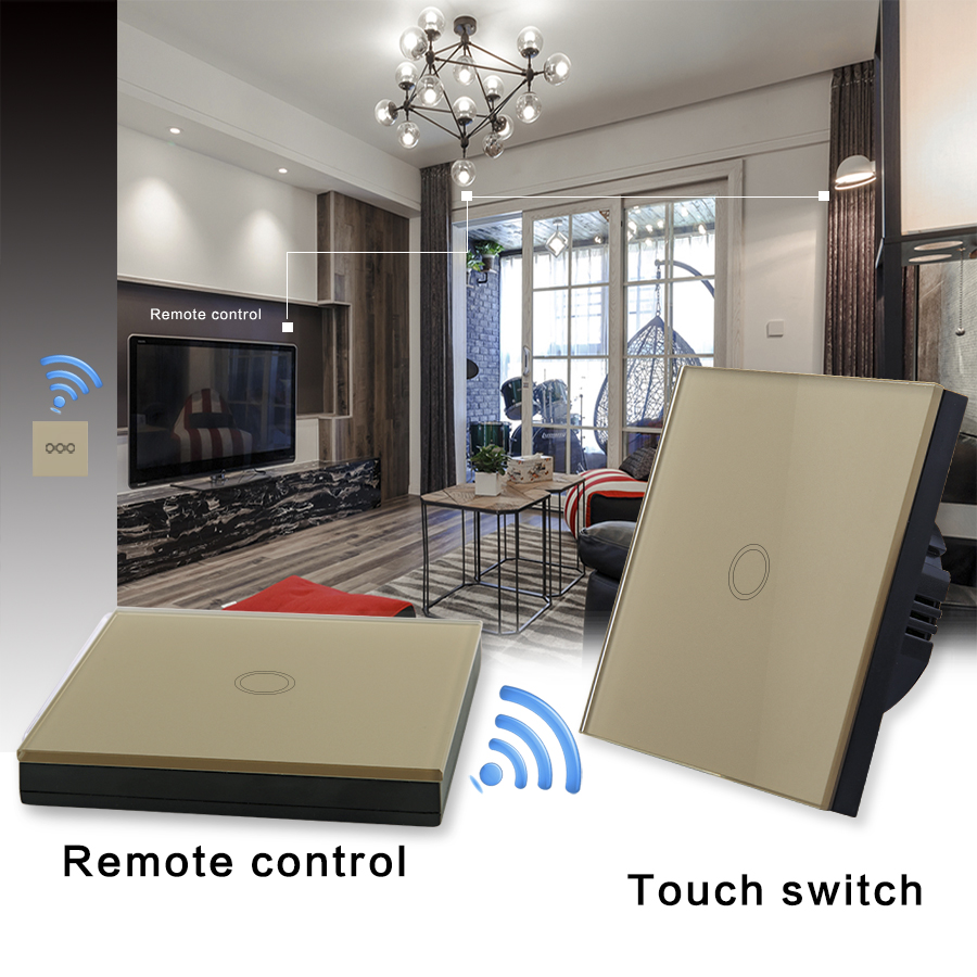Vhome 1 gang 1 way 220V Smart Touch wall Switch golden Crystal Glass Panel and RF 433mhz,ev1527. Wireless remote control switch vhome eu uk rf 433mhz wireless wall sticker panel touch remote control & 3 gang crystal glass wall lighting touch switch 220v 5a