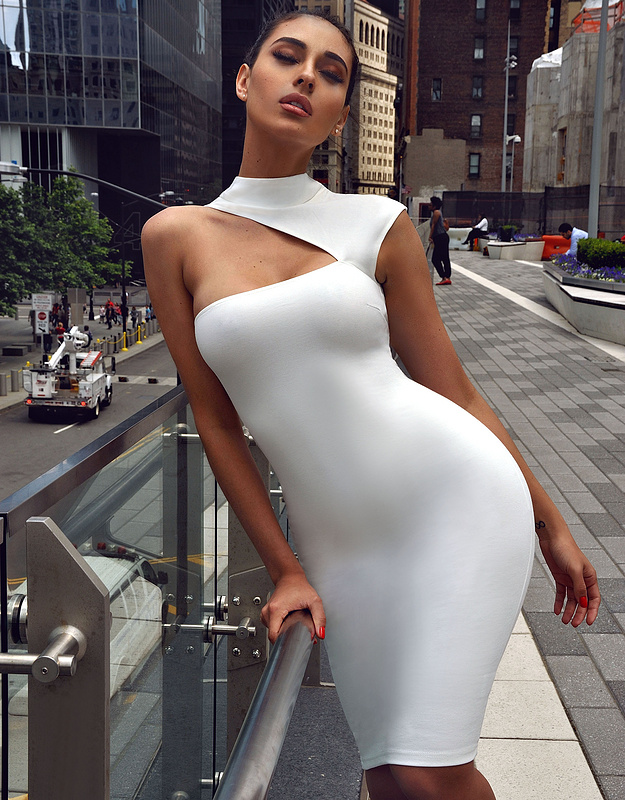 Women Summer Sexy White Bandage Dress 2017 Knitted Elegant Designer Dress L 204