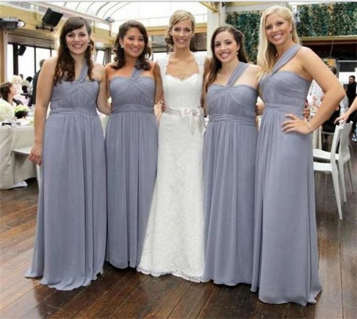 Silver Bridesmaid Dress Long Chiffon Dress Elegant Thin
