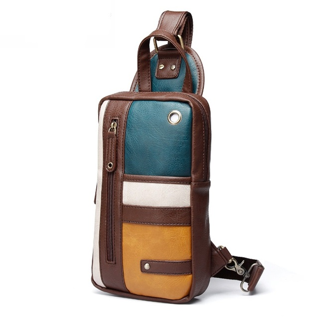 Luxury Brand Men Crossbody Bag Small Cell Phone Strap Sling Man Messenger Shoulder Bags Male Leather Chest Pack Men Chest Bags