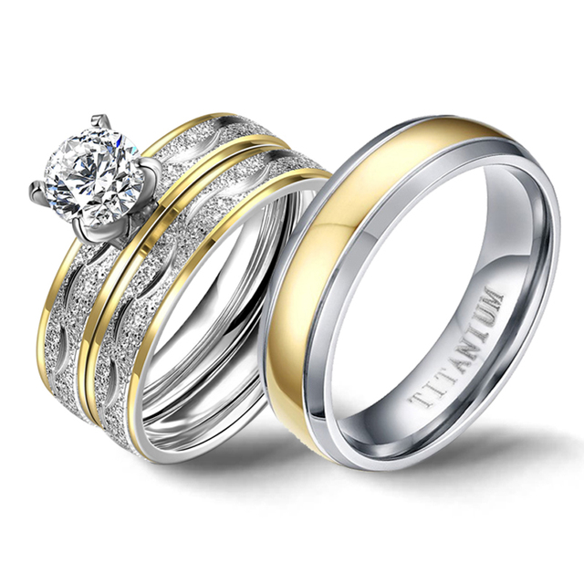 結婚指輪カップルキュービックジルコニアリングセット女性チタンリング男性女性のためのアクセサリー 2019 約束 Godly 宝石