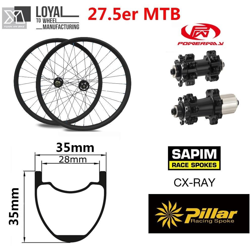 27.5er Mountain Bike Wheels 650B MTB Bike Wheelset 35mm*35mm Carbon Rim with Poweway M42 Hub for All Mountain