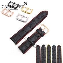 Carlywet 18 20 мм/22 мм из натуральной кожи черного цвета ручная
